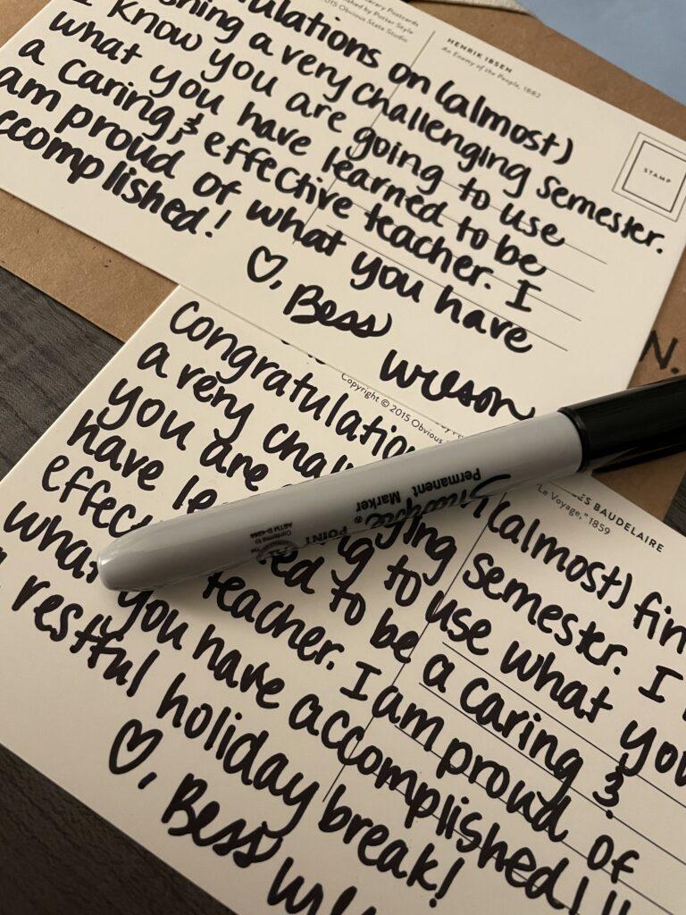 Handwritten notes from Bess Wilson