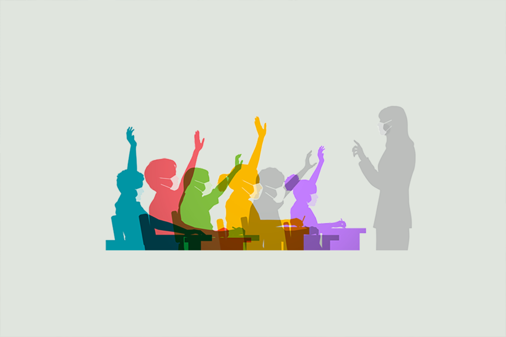 Colourful overlapping silhouettes of children in classroom